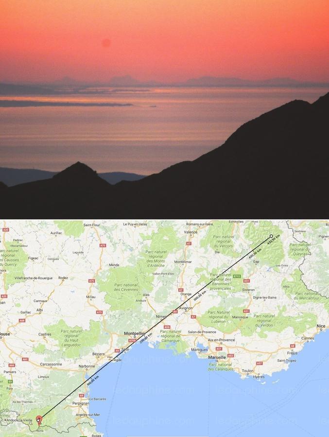 A 440 kilomètres de distance, Mark Bret a réussi à immortaliser le sommet de la Barre des Écrins (4 102 mètres) dans les Alpes depuis un sommet des Pyrénées, à savoir le pic de Finestrelles (2 826 mètres d'altitude).