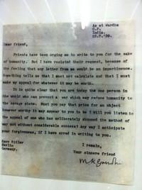 Lettre de Gandhi à Hitler.