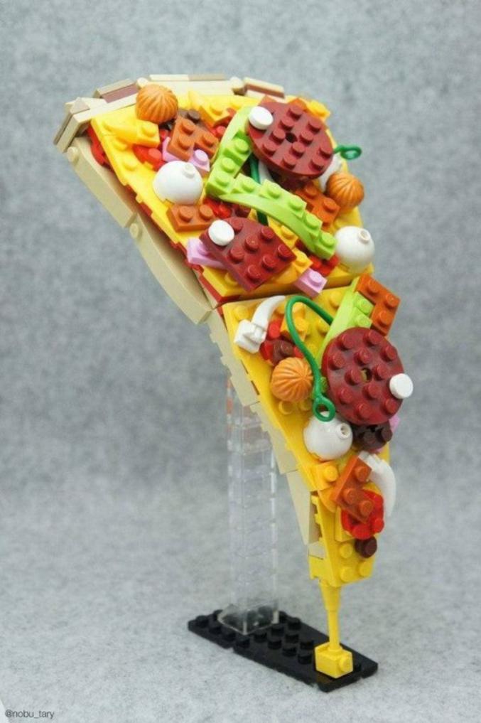 Une pizza en LEGO.