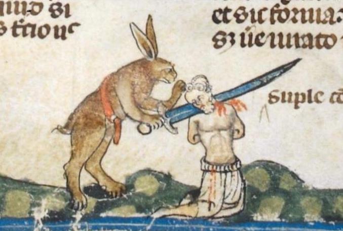 Quand tu arpentes paisiblement les terres de ta seigneurie et que tu te fais sauvagement décapiter par un lapin géant affublé d'un gode ceinture.