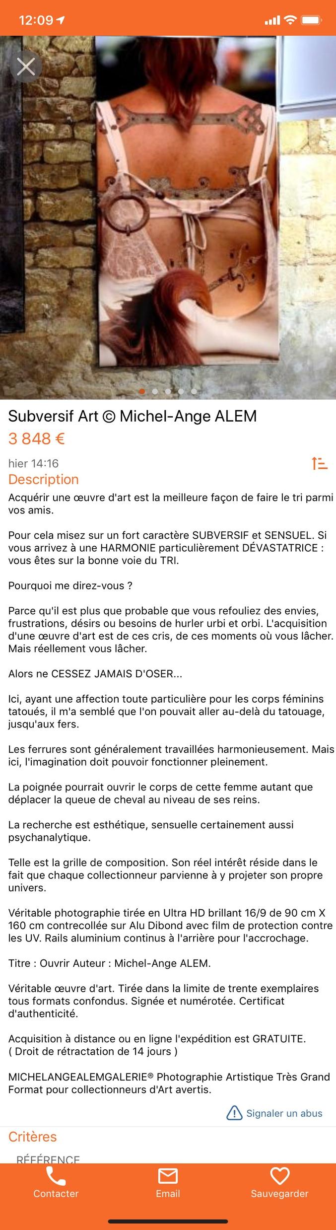 Annonce sur  Le Bon Coin trouvée au hasard d'une recherche du côté de Sarlat. ART ou WTF mon cœur balance...