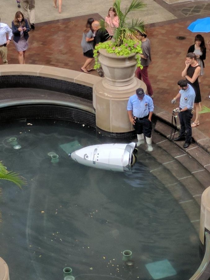 """Dans un centre commercial, un robot de sécurité s'est noyé tout seul. """"Notre entreprise à DC. dispose d'un robot de sécurité. Il s'est noyé seul. On nous promet des voitures volantes et à la place on a des robots suicidaires."""" http://mashable.france24.com/mashallow/20170718-robot-suicide-etats-unis-humanite"""