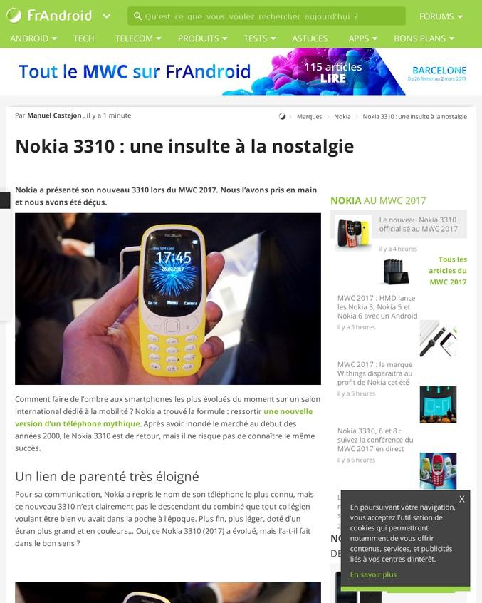"""Ou pas ! Le """"nouveau"""" 3310 présenté par Nokia lors du MWC n'est qu'un ersatz de ce qu'a fait la puissance du modèle original il y a 17 ans. Pas de coque interchangeable, un look plastique dégueulasse, un snake au rabais et une compatibilité 2G vouée à rendre ce téléphone aussi utile qu'un presse livre d'ici quelques années."""