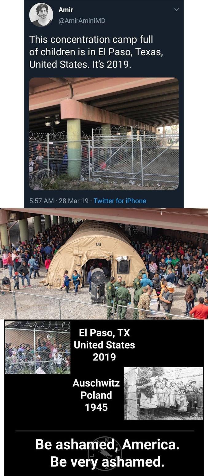 """...assimilés à des """"camps de concentration"""" pour parquer les migrants sud-américains;"""