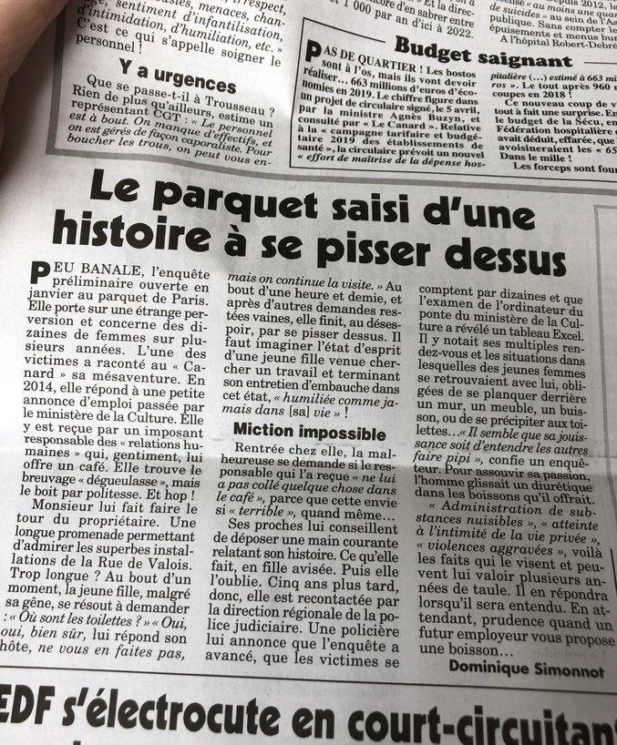 Article du Canard enchaîné.