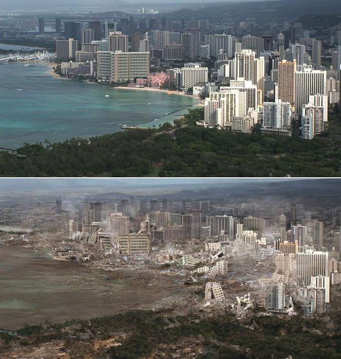 Honolulu, avant et après un tsunami.