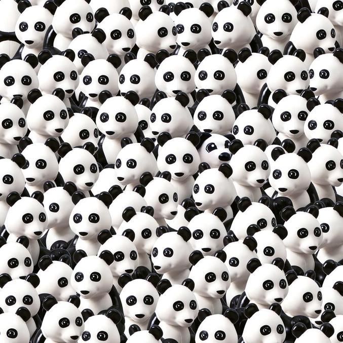 Saurez-vous retrouver le chien caché parmi les pandas?