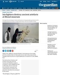 Destruction d'oeuvres antiques sumériennes et assyriennes