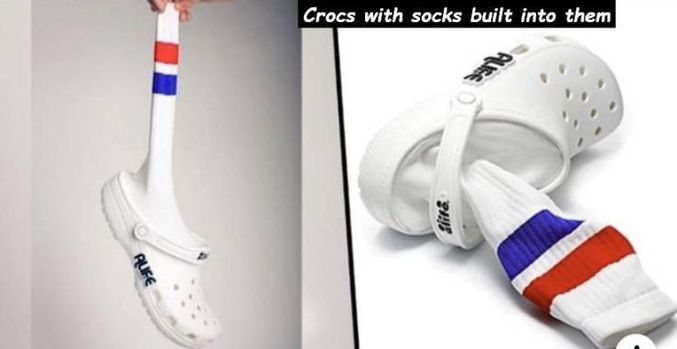 Des Crocs avec chaussettes incorporées. Pour être sûr(e) de puer des pieds !