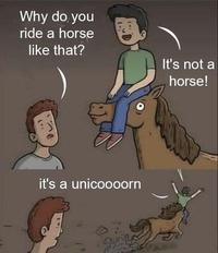 Mais pourquoi montes-tu à cheval comme ça ?