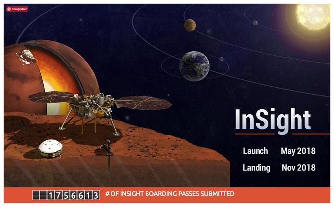 """La NASA s'apprête à envoyer la Sonde InSight sur Mars en Mai 2018, si tout vas bien, InSight devrait se poser sur Mars en Novembre 2018. Cette sonde comportera une micro-puce avec les Noms et Prénoms de milliers de gens qui désirent s'inscrire.Vous pouvez le faire gratuitement sur le site de la NASA ici : https://mars.jpl.nasa.gov/participate/send-your-name/insight/   A l'issue de votre inscription vous pourrez télécharger votre """"billet de vol"""" à direction de Mars."""