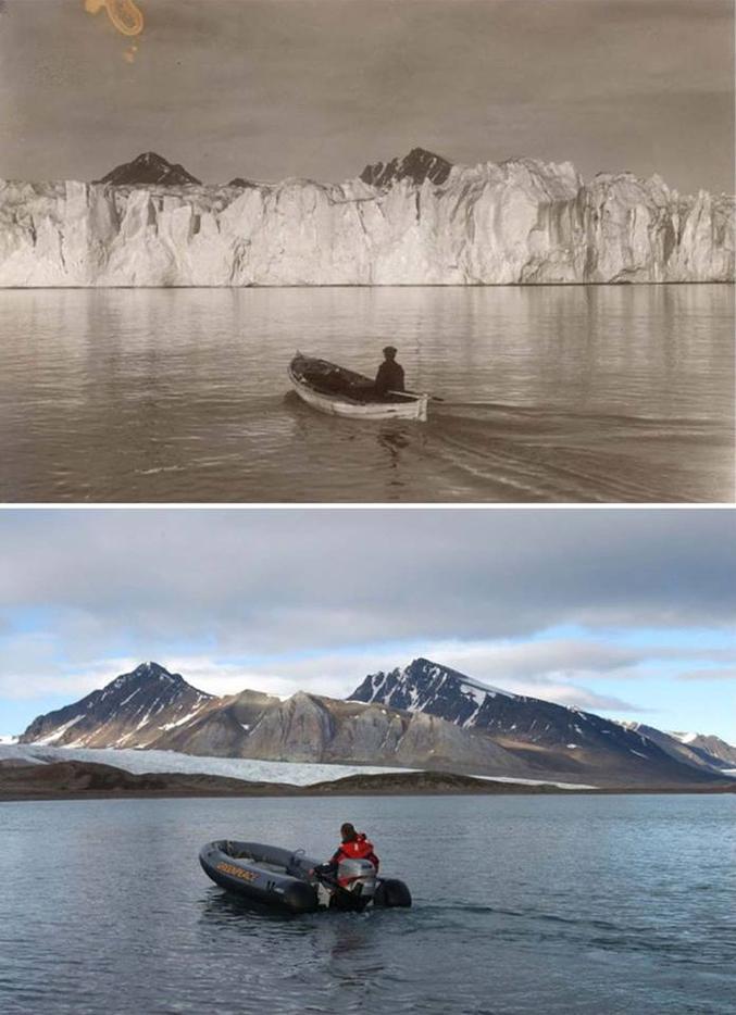 Christian Åslund, un photoreporter suédois qui collabore avec Greenpeace, est parti à la recherche de photos historiques de glaciers à Svalbard, en Norvège, les récupérant à l'Institut Polaire Norvégien, puis les a mis à côté de leurs photos prises aux mêmes endroits, mais de nos jours .  Ses photos datent de 2002,la situation s'est encore détériorée aujourd'hui.
