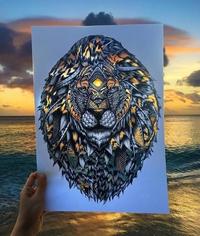 Tête de lion flamboyante