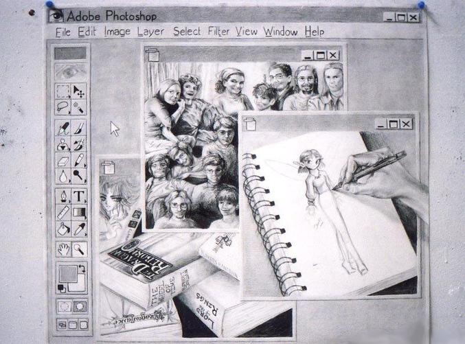 Une reproduction de fenetre de travail Photoshop au crayon