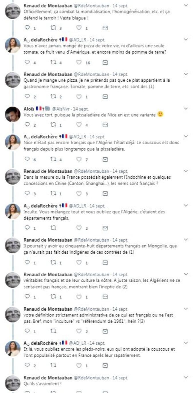 La photo de cadres du FN, dont Florian Philippot, dégustant un couscous, donne lieu à des échanges ubuesques sur twitter.  (La photo en question : https://twitter.com/K_Betesh/status/908060478433366019 )