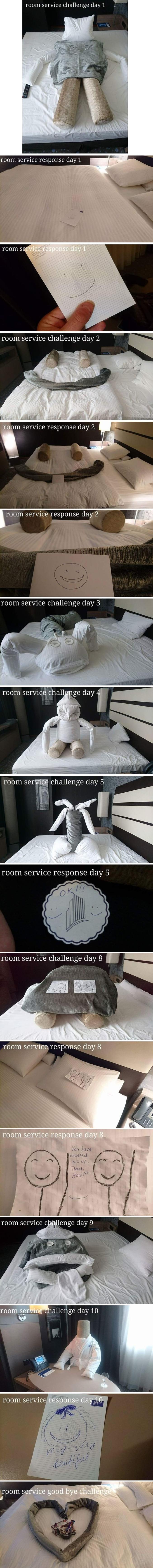 Un échange dans un hôtel entre un client et les femmes de chambre.