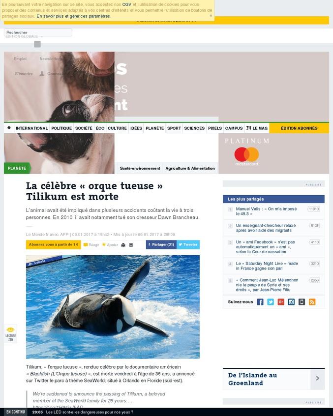 """Tilikum est une orque capturée en 1983. Elle est célèbre non pas pour les films """"Sauvez Willy"""" (il s'agit de l'orque Keiko) mais parce qu'elle a tué trois personnes :  - Keltie Byrne une étudiante en biologie, tombée dans son bassin par accident ; - Daniel P. Dukes retrouvé un matin, flottant à poil dans le bassin de l'orque ; - Dawn Brancheau, sa dresseuse, tuée parce qu'elle n'avait pas récompensé l'orque lors d'un numéro ;"""