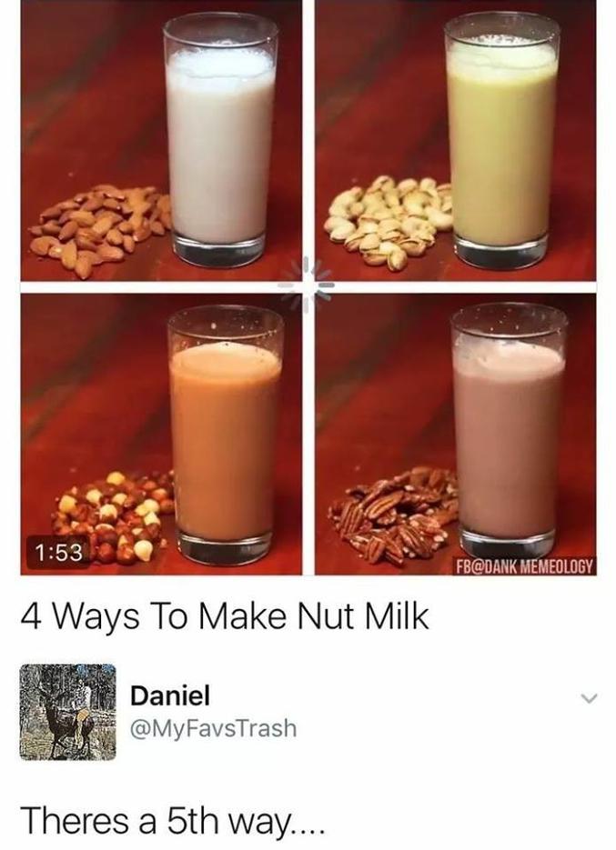 4 manières de faire du lait de noix Il existe une 5ème manière...