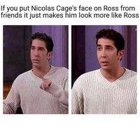Kan tu met le visage de Nicolas Cage sur Ross de Friends...