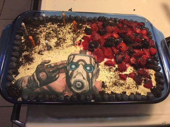 Un pâtissier qui a dû se creuser la cervelle pour faire un gâteau original.