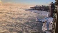 Lac Michigan par des températures polaires