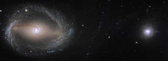 NGC 1512 et 1510 sont deux galaxies dans la constellation de l'Horloge (visible dans l'hémisphère sud). La forme inhabituelle de NGC 1512 (à gauche) est due à des interactions gravitationnelles avec sa compagne. Les deux devraient éventuellement fusionner. (Image résultant de l'assemblage de deux clichés pris par Hubble).