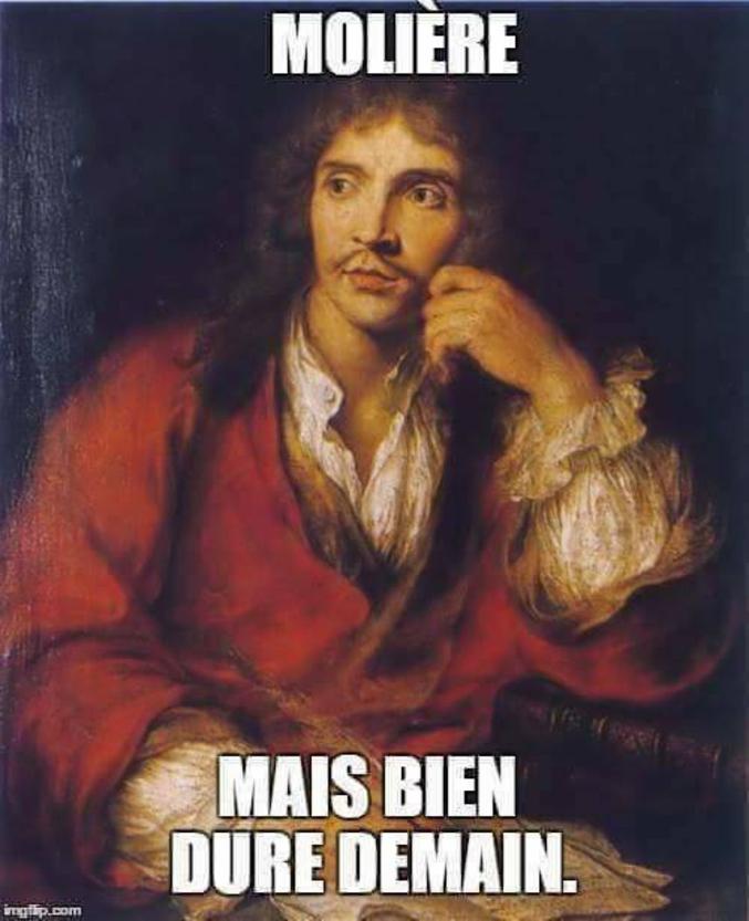 (Pardon)  Jean-Baptiste Poquelin, dit Molière, est un comédien et dramaturge français, baptisé le 15 janvier 1622 à Paris et mort le 17 février 1673.