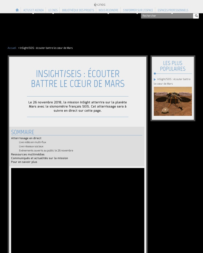 Aujourd'hui à 18h30, l'atterrissage en direct de la mission InSight sur Mars.
