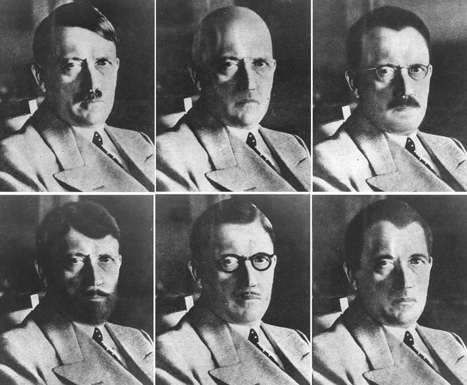 En 1944, l'OSS (Office of Strategic Services, Bureau de services stratégiques), ancêtre de la CIA, publia une note comportant cette série de photographies. Elle devait permettre faciliter la reconnaissance d'Hitler quel que soit le déguisement qu'il utilisât en cas de fuite.