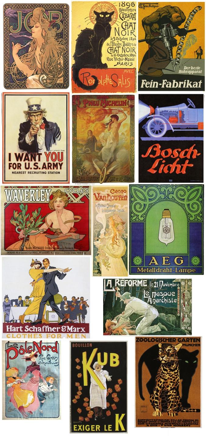 télécharger gratuitement et légalement plus de 200 posters vintage de la Belle Époque ! Célèbre pour ses affiches et ses posters réalisés par de grands artistes, comme Alphonse Mucha ou Henri de Toulouse-Lautrec, la Belle Époque s'étale en France entre 1879 à 1914, et désigne une période marquée par les progrès sociaux, économiques, technologiques et artistiques. Art of the Poster 1880-1918 est une superbe collection d'affiches de la Belle Époque publiée sur Flickr par le Minneapolis College of Art and Design. [ https://www.flickr.com/photos/69184488@N06/albums/72157636362161535 ]