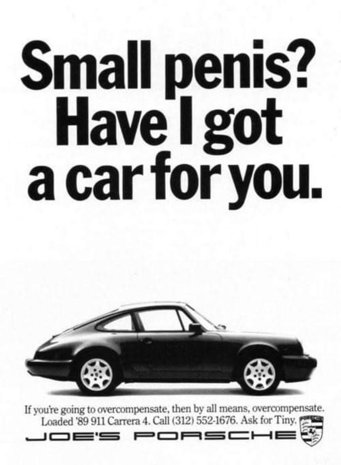 """""""Vous avez un petit pénis ? J'ai dégoté pour vous la voiture qu'il vous faut !"""""""