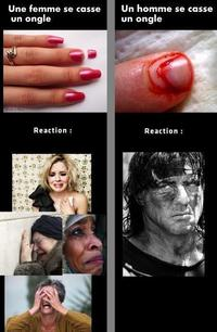 Les femmes, les hommes et les ongles cassés