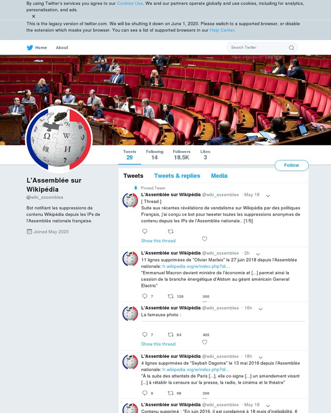 """Suite au caviardage de sa page Wikipédia par Madame Avia https://www.lesnumeriques.com/vie-du-net/comment-laetitia-avia-a-tente-de-caviarder-sa-fiche-wikipedia-n150287.html Un bot Twitter a été mis en place pour repérer les modifications de pages Wikipédia depuis les ordinateurs de l'Assemblée Nationale d'après leurs IP. Comme on dit : """"Toujours déçu, jamais surpris""""."""