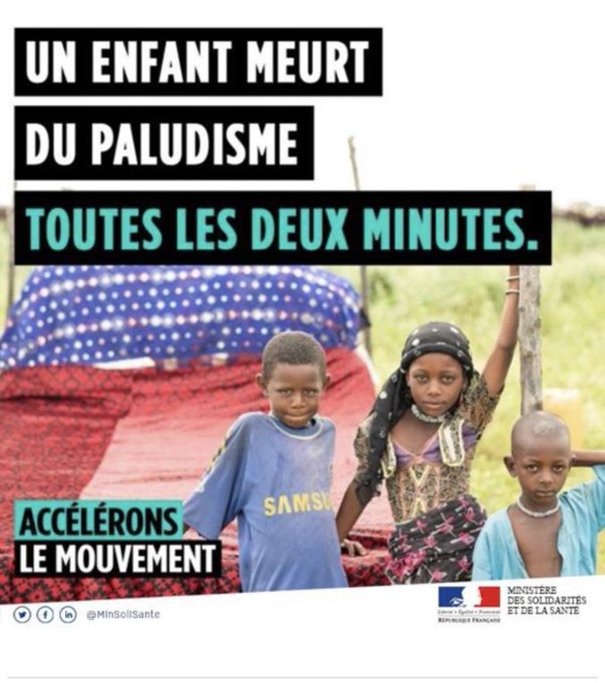 Affiche du ministère des solidarités et de la santé pour promouvoir la lutte contre le paludisme...