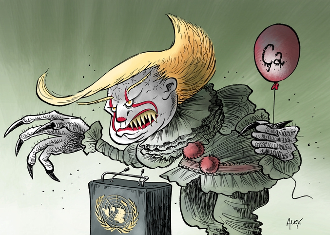 Le problème est qu'il n'est pas une légende mais un vrai clown dangereux.  http://www.courrierinternational.com/dessin/etats-unis-trump-un-clown-effrayant-aux-nations-unies#&gid=1&pid=1 https://fr.wikipedia.org/wiki/Croque-mitaine