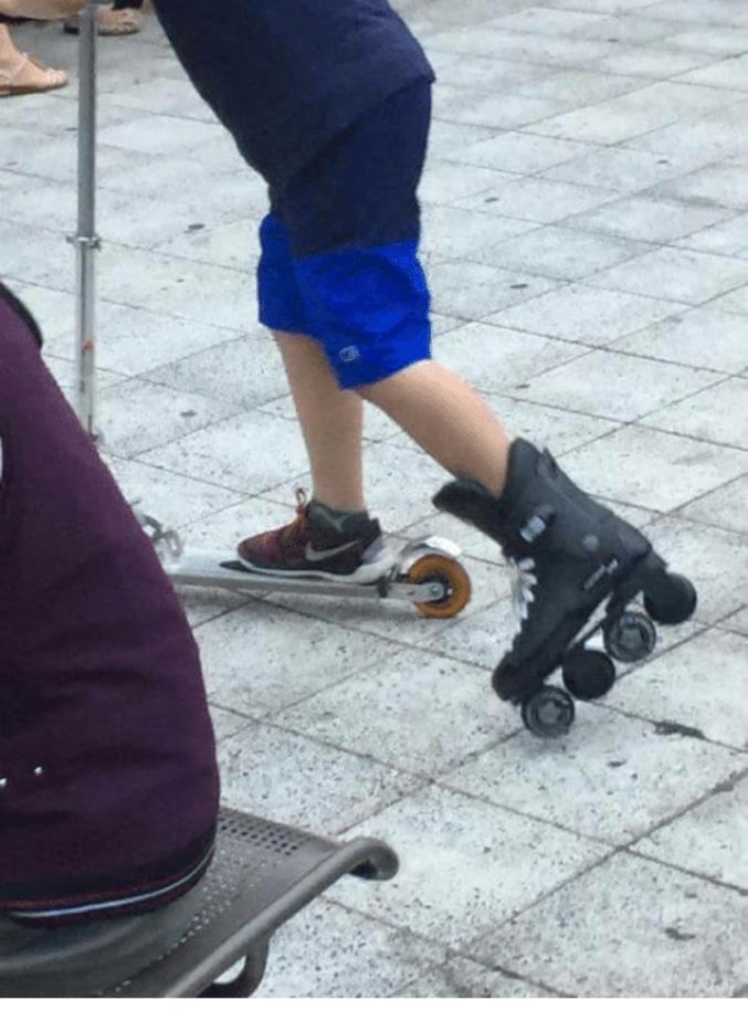 Mais que tu veux faire de la patinette et des patins à roulettes.