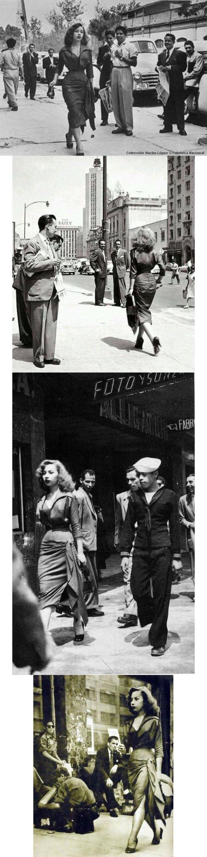 """Dans les années 50, le grand photographe mexicain """"lâche"""" une jeune fille dans les rues de Mexico, et s'emploie à photographier les réactions très machistes des passants masculins."""