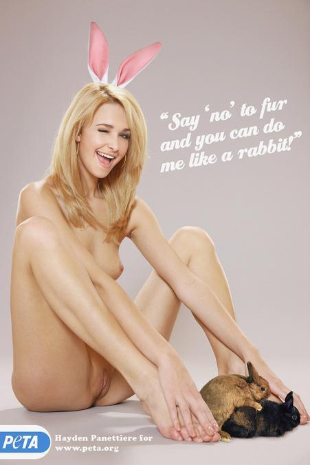 Ou PETA Chatte !  'Dites non à la fourrure, et tu pourras me prendre comme un lapin...'