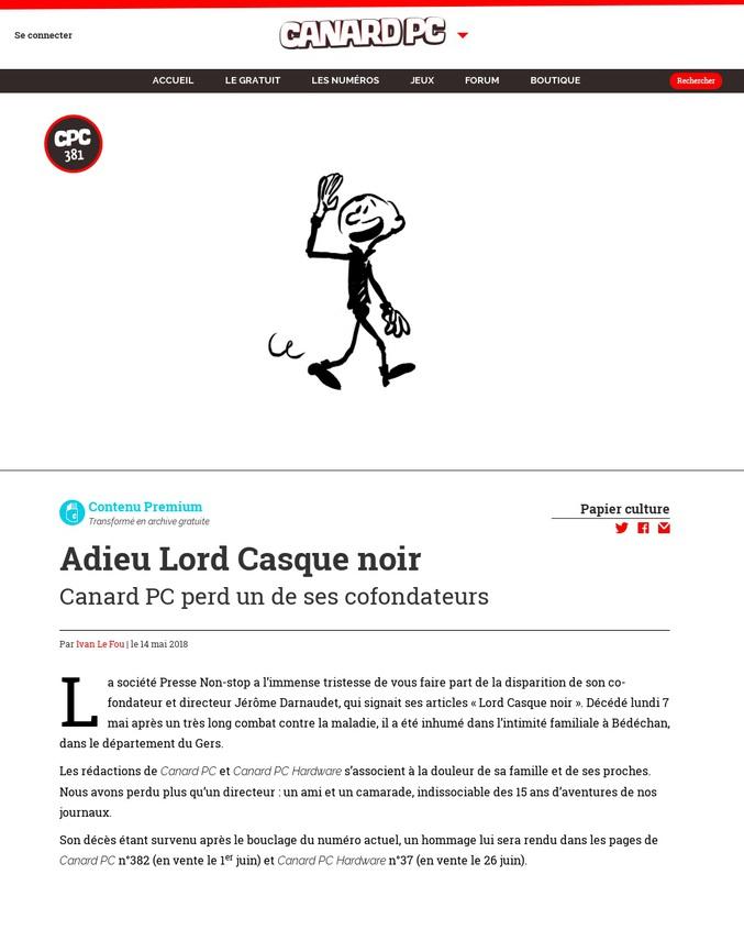 Jérôme Darnaudet, alias Lord Casque Noir, était le directeur et cofondateur de Canard PC.