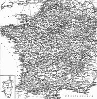 Réseau ferré métropolitain et corse en 1921