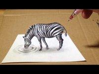 Zèbre 3D en dessin !