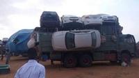 Transport de voitures au Soudan