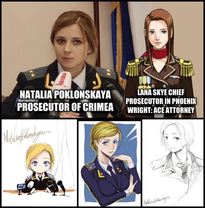Natalia Poklonskaya, nouvelle Procureur de la 'République de Crimée' depuis le 11 Mars 2014, est devenue un internet meme suite à son discours d'investiture, notamment au Japon et en Chine qui la trouvent particulièrement attrayante. Depuis, quelques dessins la représentent ou font le parallèle avec des personnages de manga ayant déjà existé.