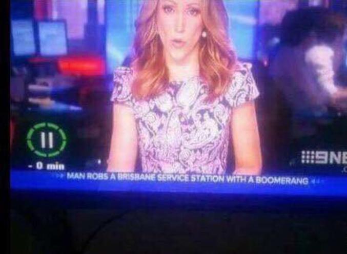 """""""Un homme braque une station-service de Brisbane avec un boomerang"""". #Australie"""