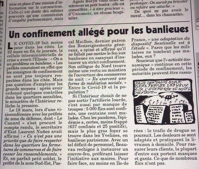 ...semblent sous-entendre les intentions des autorités dans cet article récent du Canard enchaîné.