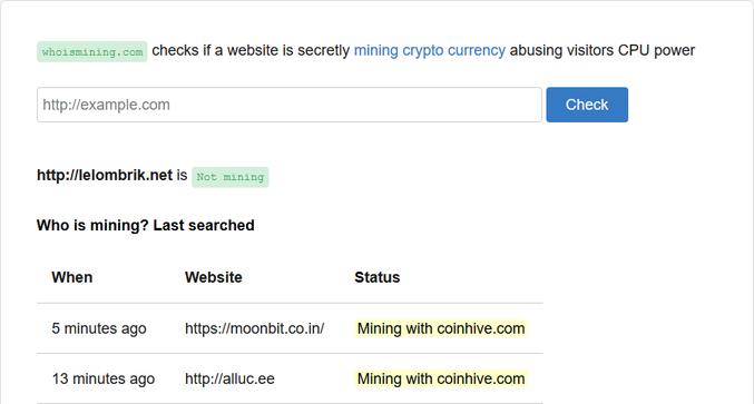 Les sites webs ont maintenant tendance à insérer un petit code en Java script pour miner du BTC en douce avec le CPU (GPU) de l'internaute. Il semblerait qu'Alix, avec le lelombrik, ne connaisse pas la combine :)