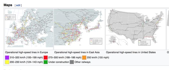 En Europe, Asie et aux USA. La majorité du (déjà peu) de lignes aux USA ne dépassent pas les 230km/h