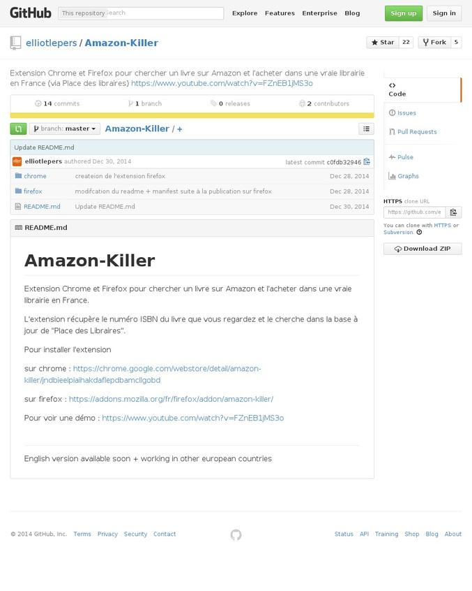"""L'extension récupère le numéro ISBN du livre que vous regardez et le cherche dans la base à jour de """"Place des Libraires"""".  Pour installer l'extension  sur chrome : https://chrome.google.com/webstore/detail/amazon-killer/jndbieelpiaihakdaflepdbamcllgobd  sur firefox : https://addons.mozilla.org/fr/firefox/addon/amazon-killer/  Pour voir une démo : https://www.youtube.com/watch?v=FZnEB1jMS3o"""