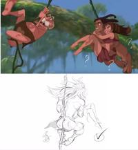Tarzan, le roi de la jungle, a un truc
