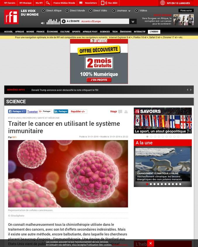 """""""La technique s'applique pourtant, de manière directe, uniquement sur la zone d'origine du cancer. Elle consiste en l'injection directement dans la tumeur, d'une infime quantité d'une substance composée de deux agents capables de stimuler localement le système immunitaire.""""  """"Une réussite chez l'animal qui nécessite cependant d'être confirmée pour l'Homme."""""""